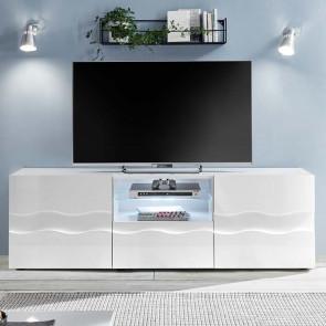 Porta Tv Wave 2 ante e un cassetto bianco lucido