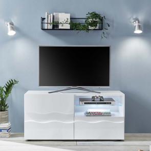 Porta Tv Wave 1 anta e 1 cassetto bianco lucido