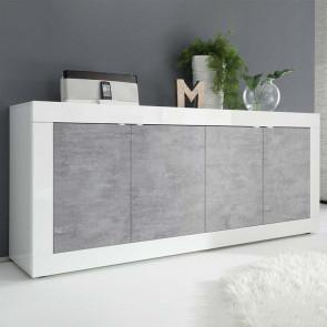Madia 4 ante Basic bianco lucido cemento