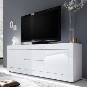 Porta tv 2 ante 2 cassetti Basic bianco lucido