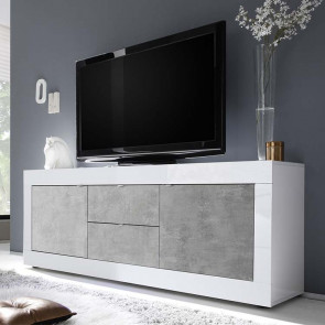 Porta tv 2 ante 2 cassetti Basic bianco lucido cemento
