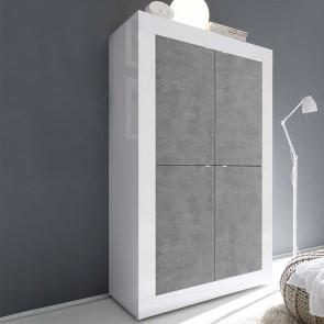Mobile contenitore Basic 4 ante bianco lucido cemento