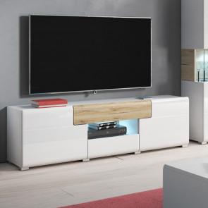 Porta tv Tahiti 2 ante 2 cassetti bianco lucido rovere