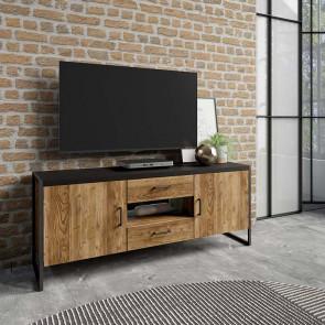 Porta tv Likas piccolo 2 ante 2 cassetti legno invecchiato metallo nero industrial