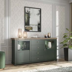 Credenza Texel 2 ante con vetro 4 cassetti verde quercia