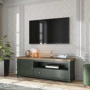 Porta tv Texel 1 anta 1 cassetto verde quercia
