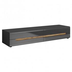 Porta tv Gordon grande 2 cassetti antracite lucido rovere