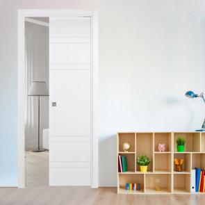 Porta interna Sara scorrevole a scomparsa 80 x 210 bianco laccato