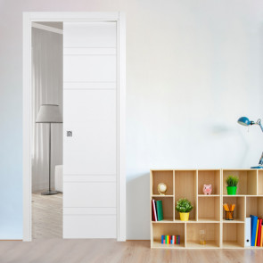 Porta interna Sara scorrevole a scomparsa 70 x 210 bianco laccato