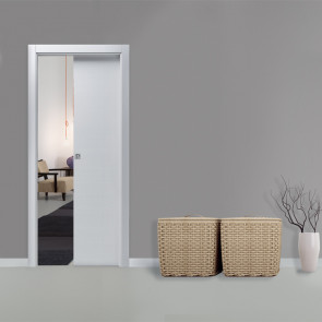 Porta interna Lara scorrevole scomparsa 70 x 210 bianco matrix