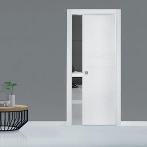 Porta interna Fabrizia scorrevole scomparsa 70 x 210 bianco struttura