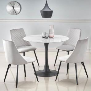 Tavolo rotondo Gorgan 90 marmo bianco acciaio nero moderno