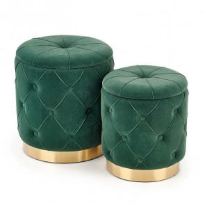 Set 2 pouf Emil verde in velluto funzione contenitore