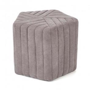 Pouf imbottito Penta piccolo grigio in tessuto moderno