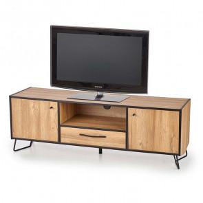Porta tv Rekar 2 ante 1 cassetto quercia acciaio nero industriale