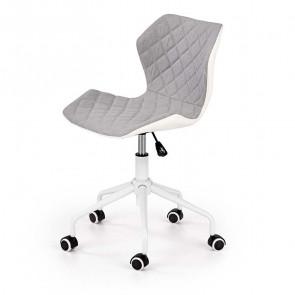 Sedia per scrivania ragazzi Bilbao tessuto ecopelle grigio bianco