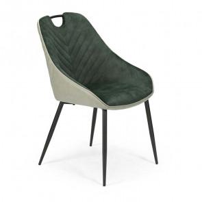 Sedia imbottita Mirea in velluto verde