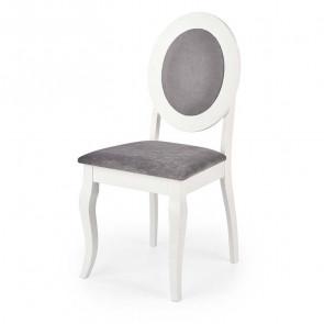 Sedia imbottita Adna in tessuto grigio bianco classica