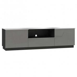 Porta tv Leila 2 ante 1 ribalta nero grigio nero vetro