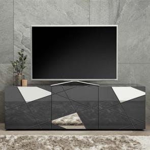 Mobile porta tv Vittoria grigio lucido specchio con serigrafia