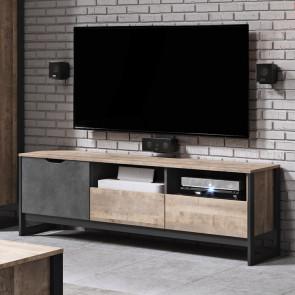 Mobile porta Tv Sandy 1 anta 2 cassetti quercia scura ossido