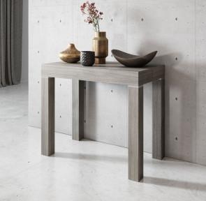Tavolo consolle allungabile moderno Pandora 110 rovere grigio poro aperto Gihome®