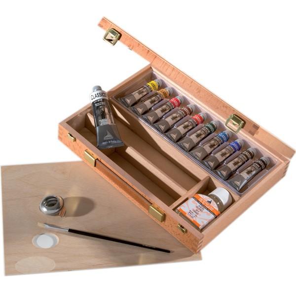 Confezione colori a olio Maimeri Classico cassetta in legno di faggio