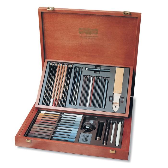Elegante confezione in legno chiaroscuro 56 pezzi Koh-I-Noor Gioconda