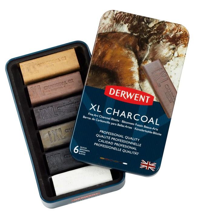 Confezione chiaroscuro 6 blocchi XL Charcoal Derwent in cofanetto prezzi