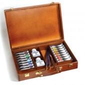 offerta Splendida Cassetta in tinta Ciliegio con colori acrilici Maimeri Polycolor e accessori