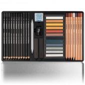 Cofanetto con 35 tra crete colorate pastel scala di terre, matite e carboncino e sanguigna by Lyra
