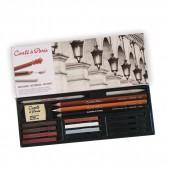 Elegante Cofanetto 18 pezzi Carre e matite per chiaro scuro - Contè