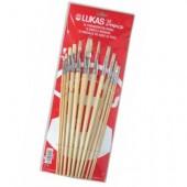 Confezione 12 pennelli piatti in pura setola per belle arti e hobby - Lukas
